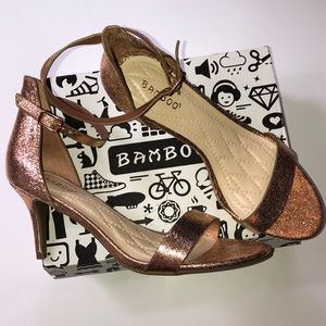 BAMBOO rose gold glitter open toe ankle strap